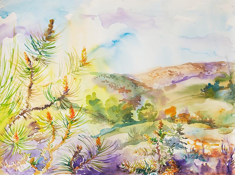 Galerie d 39 aquarelles paysages de provence anna for Agence de paysage marseille